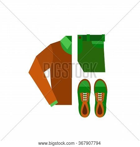 Icon Of Folded Brown Sweater With Shirt, Green Trousers And Sneakers. Mens Fashion, Male Casual Clot