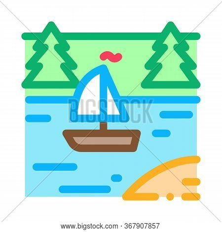 Current River Among Gorge Icon Vector. Current River Among Gorge Sign. Color Symbol Illustration
