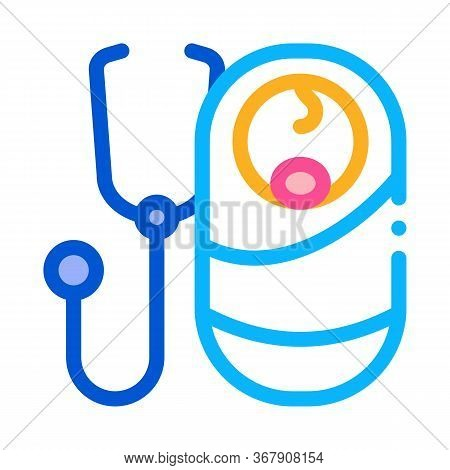 Listen To Breath Of Newborn Baby Icon Vector. Listen To Breath Of Newborn Baby Sign. Color Symbol Il