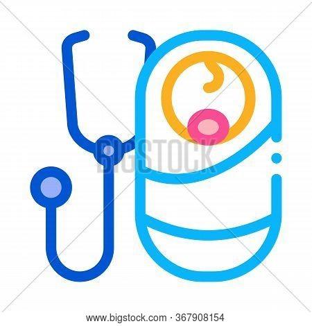 Listen To Breath Of Newborn Baby Icon Vector. Listen To Breath Of Newborn Baby Sign. Color Symbol Il