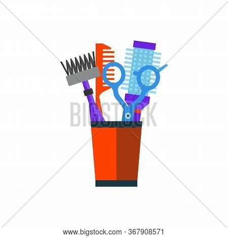 Icon Of Hairdresser Combs And Shears In Pot. Barbershop, Haircut, Hairdressing Salon. Hairdresser To