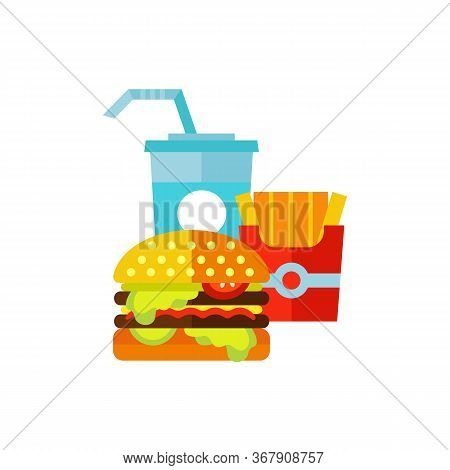 Icon Of Burger, Fries And Cold Drink. Dinner Set, Appetite, Diet. Fast Food Concept. Can Be Used For