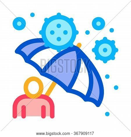 Umbrella Protection Against Viruses Icon Vector. Umbrella Protection Against Viruses Sign. Color Sym