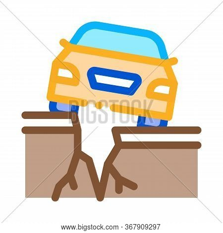 Earthquake Under Car Icon Vector. Earthquake Under Car Sign. Color Symbol Illustration