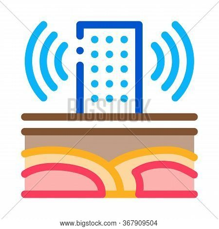 Seismic Wave High-rise Building Icon Vector. Seismic Wave High-rise Building Sign. Color Symbol Illu