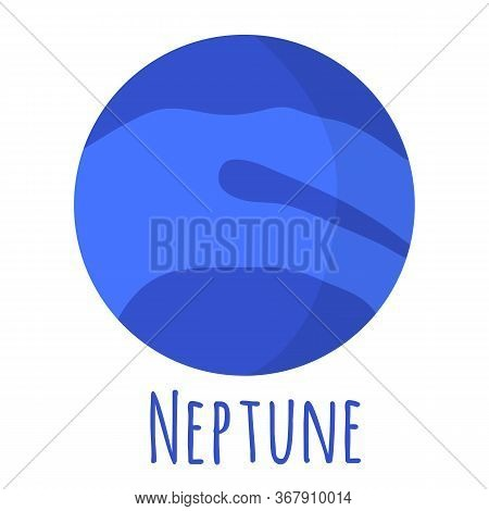 Neptune Planet For Logo, Outer Space, Symbol. Transparent Shadow And Lettering.