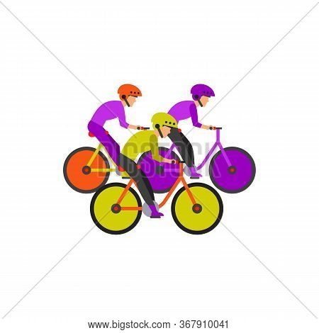 Icon Of Group Of Competitors Riding Bicycles. Bicycle Racing, Bicycle Marathon, Contest. Competition