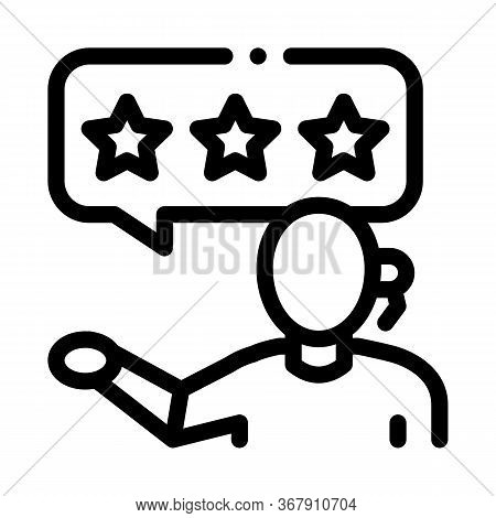 Three Stars Master Woman Icon Vector. Three Stars Master Woman Sign. Isolated Contour Symbol Illustr