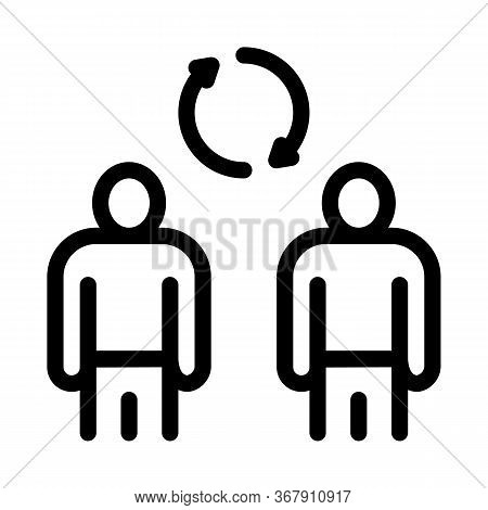 Collective Interview Icon Vector. Collective Interview Sign. Isolated Contour Symbol Illustration