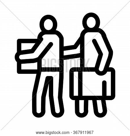 People With Luggage Icon Vector. People With Luggage Sign. Isolated Contour Symbol Illustration