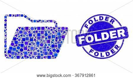Geometric Folder Mosaic Pictogram And Folder Stamp. Blue Vector Round Textured Seal Stamp With Folde