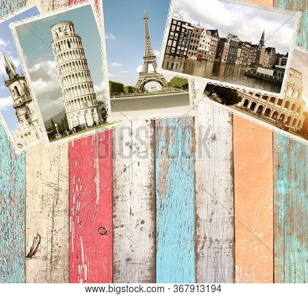 Vintage travel background with old wood planks texture and retro photos of european landmarks. Mock up template. Copy space for text
