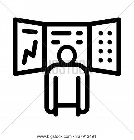 Promotion Board And Observing Person Icon Vector. Promotion Board And Observing Person Sign. Isolate