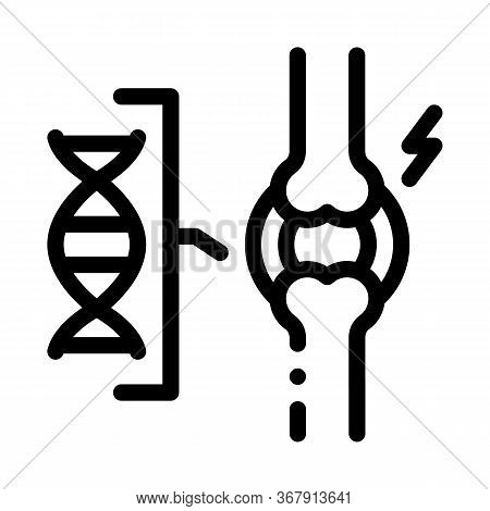 Dna Blood Joint Pain Icon Vector. Dna Blood Joint Pain Sign. Isolated Contour Symbol Illustration