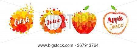 Fresh Juice Apple, Papaya, Orange, Mango Label Splash Set Design. Orange And Yellow Drops Bubbly Log