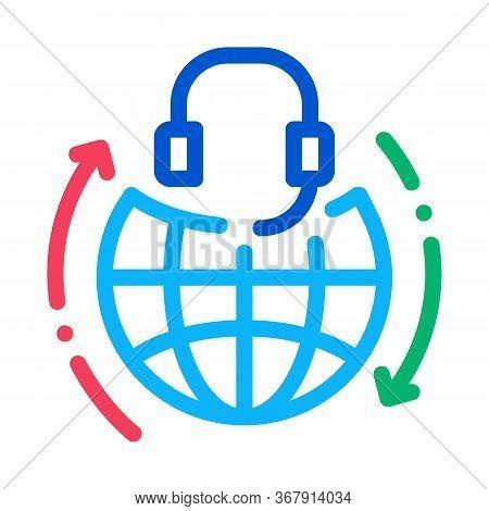 Global Help Desk Hotline Icon Vector. Global Help Desk Hotline Sign. Isolated Contour Symbol Illustr