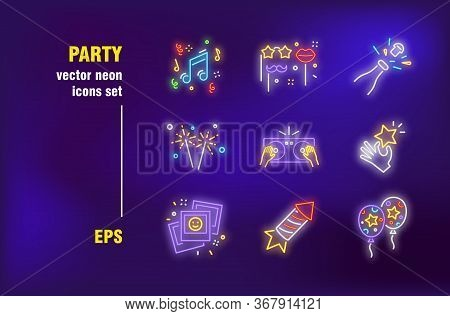 Party Neon Signs Set. Decoration, Accessory, Carnival, Music, Balloon, Dj Mixer. Night Bright Advert