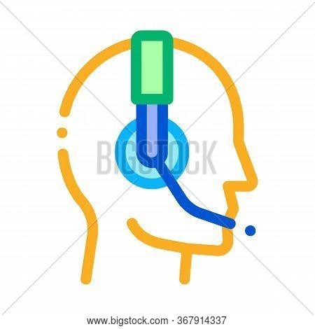 Representative Help Line Icon Vector. Representative Help Line Sign. Isolated Contour Symbol Illustr