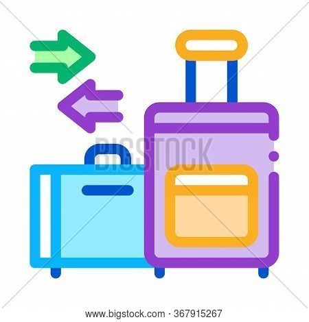 Migration Emigration Baggage Icon Vector Outline Illustratio