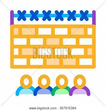 Banned People Behind Fence Icon Vector. Banned People Behind Fence Sign. Isolated Contour Symbol Ill