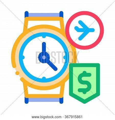 Purchase Cash Wristwatch Duty Free Icon Vector. Purchase Cash Wristwatch Duty Free Sign. Isolated Co