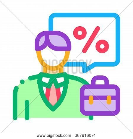 Realtor For Profit Interest Icon Vector. Realtor For Profit Interest Sign. Isolated Contour Symbol I