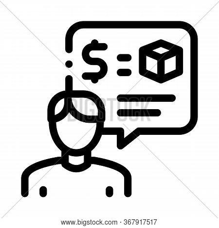 Pawnshop Representative Employee Icon Vector. Pawnshop Representative Employee Sign. Isolated Contou