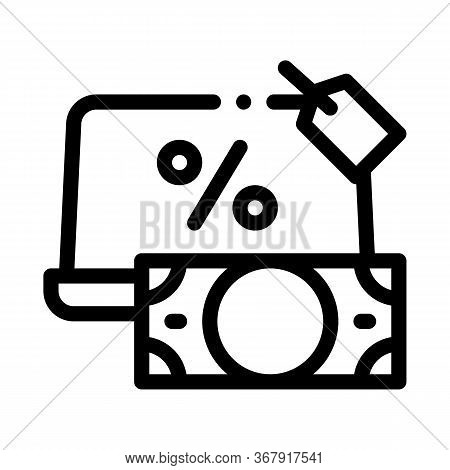 Give Laptop To Pawnshop Icon Vector. Give Laptop To Pawnshop Sign. Isolated Contour Symbol Illustrat