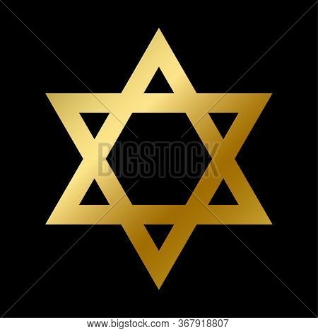 David Star Symbol Isolated Judaism Sign Outline