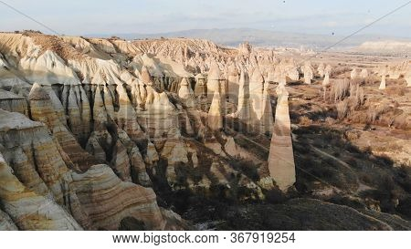 The Valley Of Love In Goreme Cappadocia Turkey During The Freezing Winter Months