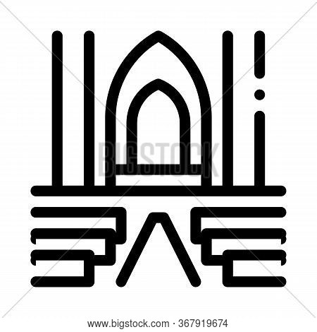 View Inside Catholic Church Icon Vector. View Inside Catholic Church Sign. Isolated Contour Symbol I