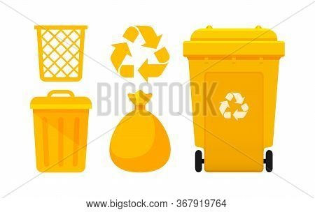 Yellow Bin Collection, Recycle Bin And Yellow Plastic Bags Waste Isolated On White