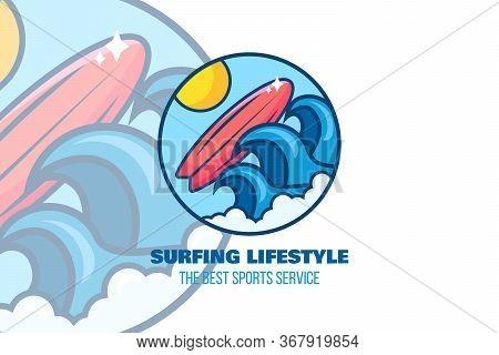 Surfing Logo. Surf Camp, Station Emblem Template