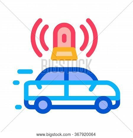 Flashing Police Car Icon Vector. Flashing Police Car Sign. Color Symbol Illustration