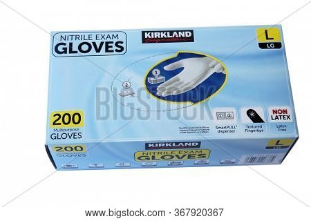 5-20-2020 Lake Forest, CA:  Unopened box of Nitrile Exam Gloves. krikland Gloves are an important tool in medical hygiene and staying clean and germ free. Exam Gloves. Isolated on white. Room for text.