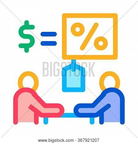 Negotiation Table Interest And Money Icon Vector Outline Illustration