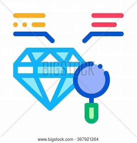 Inspection Study Diamond Stone Icon Vector. Inspection Study Diamond Stone Sign. Color Symbol Illust