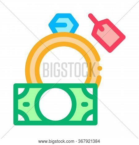 Delivery Of Precious Ring To Pawnshop Icon Vector. Delivery Of Precious Ring To Pawnshop Sign. Color