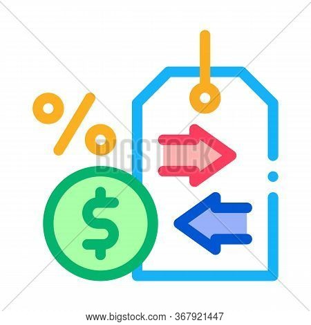 Cash Interest Price Tag Icon Vector. Cash Interest Price Tag Sign. Color Symbol Illustration