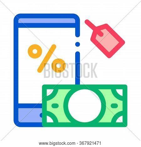 Money Phone Pledge Icon Vector. Money Phone Pledge Sign. Color Symbol Illustration