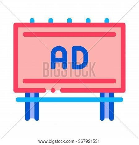 Mounted Overhead Billboard Icon Vector. Mounted Overhead Billboard Sign. Color Symbol Illustration