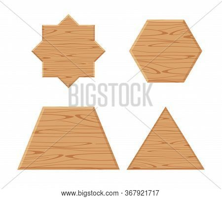 Wooden Plank Different Isolated On White, Wooden Eight Pointed Star, Trapezoid Wood Shaped, Wooden T