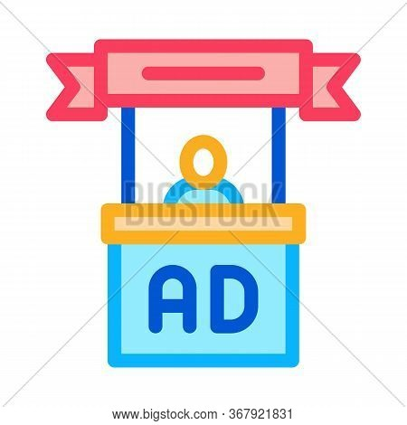 Advertising Reception Center Icon Vector. Advertising Reception Center Sign. Color Symbol Illustrati