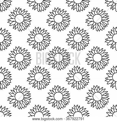 Seamless Pattern Made From Doodle Sun. Isolated On White Background. Vector Stock Illustration.