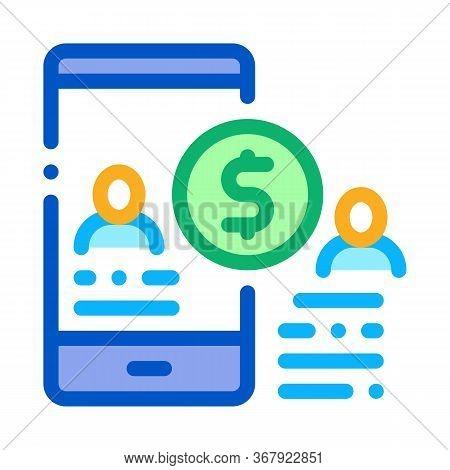 Transfer Money To Person Via Phone Icon Vector. Transfer Money To Person Via Phone Sign. Color Symbo