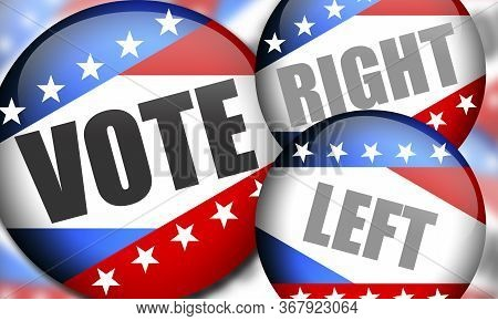 Election Batches Between The Right And The Left As A Presidential Vote Or Congress . Usa Election. 3