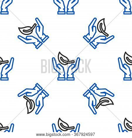 Line Sprout In Hand Of Environmental Protection Icon Isolated Seamless Pattern On White Background.