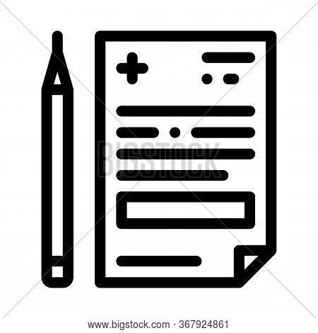 Medical Prescription And Pencil Icon Vector. Medical Prescription And Pencil Sign. Isolated Contour