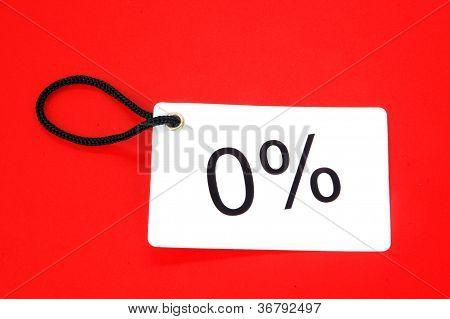 Zero Percent Red Paper Tag