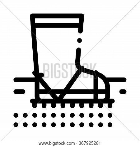 Aeration Ground With Boot Icon Vector. Trample Ground With Boot Sign. Isolated Contour Symbol Illust